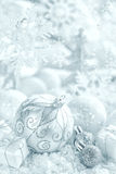 Christmas ornaments on snow Royalty Free Stock Photo