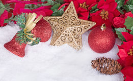 Christmas Ornaments in Snow Stock Photo