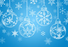 Christmas Ornaments with Snowflakes. Christmas Ornaments with Snow Flakes on Blue Background Royalty Free Stock Image