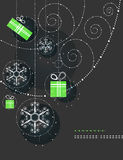 Christmas ornaments, snowflakes and gifts Stock Images