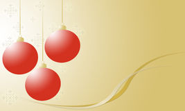 Christmas Ornaments and snowflakes on gold Stock Photography