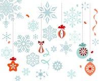 Christmas Ornaments Snowflakes. Retro christmas ornaments, snowflakes, ribbons and confetti Stock Images