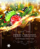 Christmas ornaments with sparkles and fir branches Royalty Free Stock Images