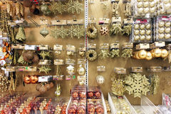 Christmas ornaments in store royalty free stock photography