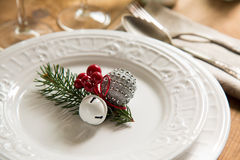 Christmas ornaments for table setting Stock Photo