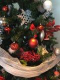Christmas Ornaments on Christmas Tree. Ornaments hanging on Holiday/Christmas Tree stock photos