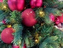 Christmas Ornaments on Christmas Tree. Ornaments hanging on Holiday/Christmas Tree royalty free stock photography