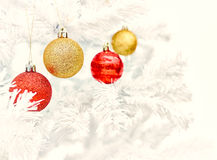 Christmas ornaments and tree Royalty Free Stock Photos