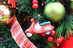 Christmas toys ornaments, garland, ribbon royalty free stock photography