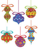 Christmas Ornaments with Tribal Motifs Royalty Free Stock Image
