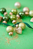 Christmas ornaments in various green tones Royalty Free Stock Images