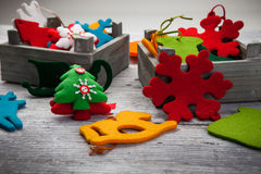 Christmas Ornaments. Various Christmas retro ornament in close-up Stock Photo