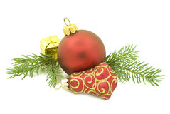 Christmas ornaments on white Stock Photography