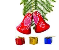 Christmas ornaments on white Stock Photos
