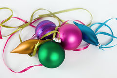 Christmas ornaments on white background Royalty Free Stock Images