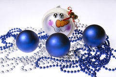 Christmas ornaments on the white background. Close up Royalty Free Stock Photo