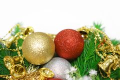 Merry Christmas ornaments decoration background. Christmas ornaments on white background. Close up. Merry Christmas Stock Photography