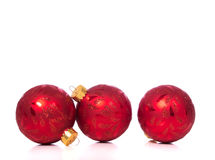 Christmas Ornaments on white background with copy space Stock Photo