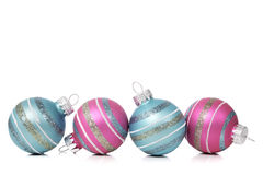Christmas Ornaments on white background with copy space Royalty Free Stock Photo