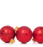 Christmas Ornaments on white background with copy space Stock Image