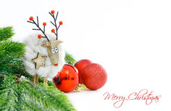 Christmas ornaments on white background. Funny christmas card. Space for text Royalty Free Stock Photo