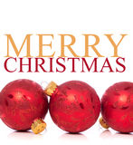 Christmas Ornaments on white background with Merry Christmas mes Stock Images