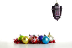 Christmas ornaments on the white Stock Photo