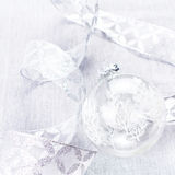 Christmas Ornaments with white Bauble  and silver ribbon close u Stock Photo