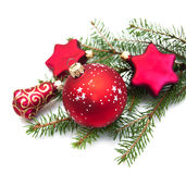 Christmas ornaments on white Royalty Free Stock Photos