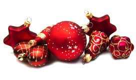 Christmas ornaments on white Royalty Free Stock Photo