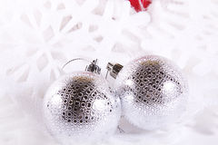Christmas Ornaments with white space Stock Images