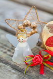 Christmas ornaments on wood. Selective focus of the christmas ornaments Stock Image