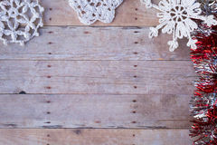 Christmas ornaments on a wood background Royalty Free Stock Photo