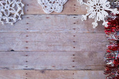 Christmas ornaments on a wood background Royalty Free Stock Photography