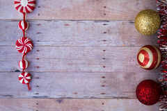 Christmas ornaments on a wood background Stock Image