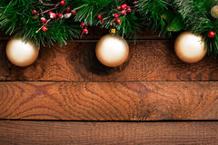 Christmas Ornaments on Wood Royalty Free Stock Photography