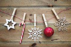 Christmas ornaments on a wooden background Royalty Free Stock Photography