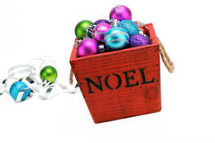 Christmas ornaments in a wooden box Royalty Free Stock Photography