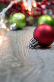 Christmas Ornaments on Wooden Floor Stock Image