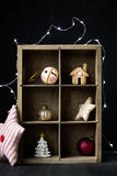 Christmas ornaments. On a wooden shelf Stock Photography