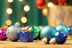 Christmas ornaments on wooden surface Royalty Free Stock Photography