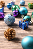 Christmas ornaments on wooden surface - Series 6 Royalty Free Stock Image