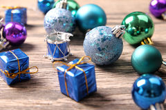 Christmas ornaments on wooden surface - Series 5 Royalty Free Stock Images
