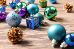 Christmas ornaments on wooden surface - Series 4 Stock Photography