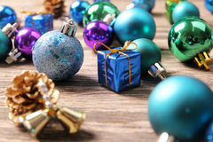 Christmas ornaments on wooden surface - Series 3 Stock Photography