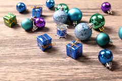 Christmas ornaments on wooden surface - Series 2 Stock Images