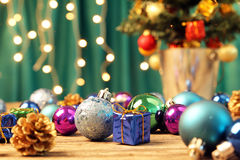 Christmas ornaments on wooden surface - Series 3 Royalty Free Stock Image