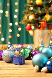 Christmas ornaments on wooden surface - Series 2 Stock Image