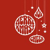 Christmas ornaments with the words. Merry Xmas, Joy and Cheer. Vector illustration in funky style Royalty Free Stock Photo
