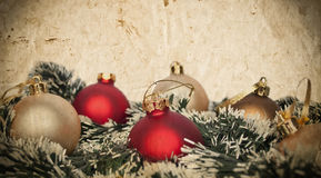 Christmas ornaments with wreath isolated on white Royalty Free Stock Photo